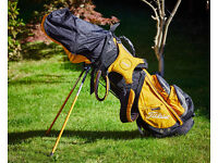 Complete set of Golden bear Acu-force graphite golf clubs with Titleist carry bag and accessories.