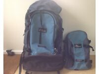 Macpac Genesis 70L Backpack with zip on day sack. VGC