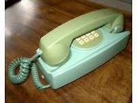 Vintage Push Button Wall Mount Cord Telephone - Green / Avocado - Untested