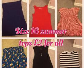SOLD Size 16 summer tops