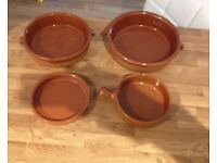 4x earthenware tapas dishes