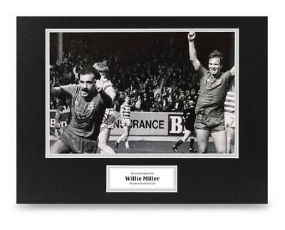 Willie Miller Signed 16x12 Photo Display Aberdeen Autograph Memorabilia + COA