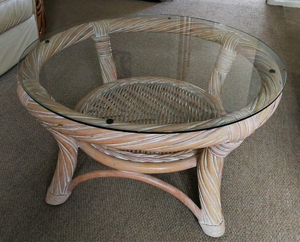 Beau Round Cane Coffee Table W/ Glass Top   76cm X 41cm