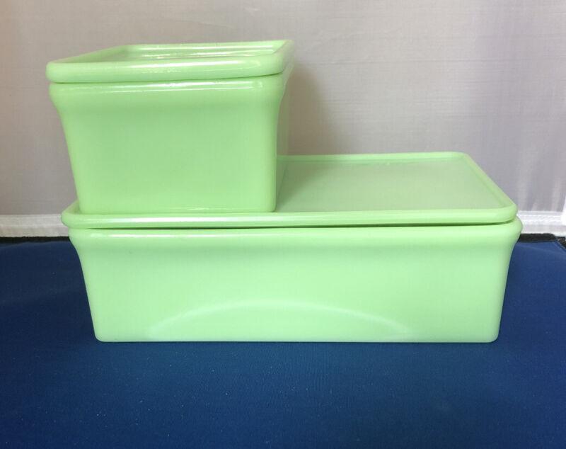"Mckee Jadeite Refrigerator Dish 5""x4"" W Lid And 8"" X 5"" Storage Jadite Green"