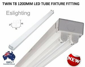 twin t8 led tube fixture 1200mm 4ft fitting batten fluorescent office. Black Bedroom Furniture Sets. Home Design Ideas