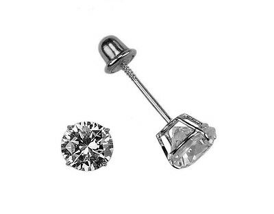 14K Solid White Gold RD 4.0mm Basket Baby Study Earrings Screw Back Kids, Women ()