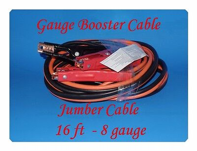16 Ft 8 Gauge Booster Cable Emergency Car Battery Jumper for all 4 , 6 & 8 Cyl ()