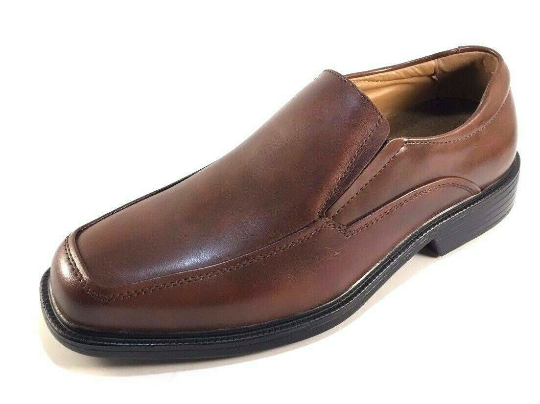 La Milano A1720 Brown Leather Comfort Extra Wide (EEE) Men's Slip On Dress Shoes