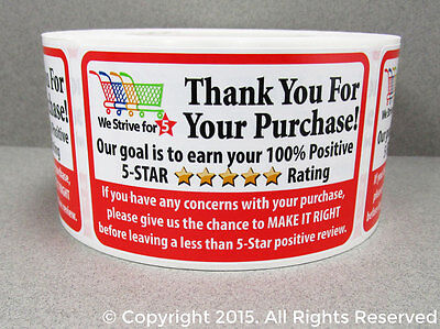 250 Amazon Ebay Etsy Thank You For Your Purchase Labels Shipping Stickers 2x3