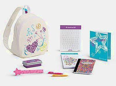 "NEW American Girl Doodle Backpack Set For 18"" Dolls School Ruler Notebook ++ NIB"