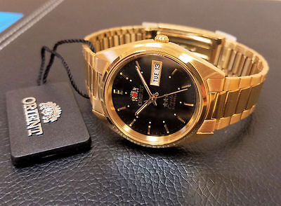 Orient Classic Dress Watch Automatic Gold Black Dial Watch FREE US SHIPPING