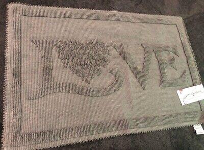 Jan Constantine Grey Bath Mat Love Heart Design