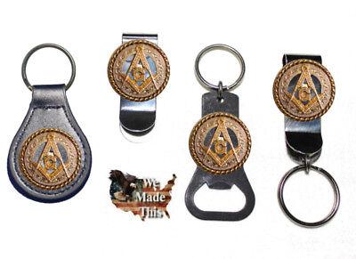 Mason Square and Compass Masonic Bottle Opener Key Fob Key Holder or Money Clip  ()