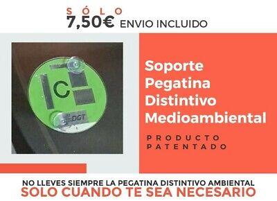 Soporte Pegatina Distintivo Ambiental DGT [Madrid, Barcelona] + Ventosas