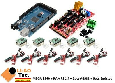 Mega 2560 R3 Ramps 1.4 Control Panel 5pcs A4988 Stepper 6pcs Endstop