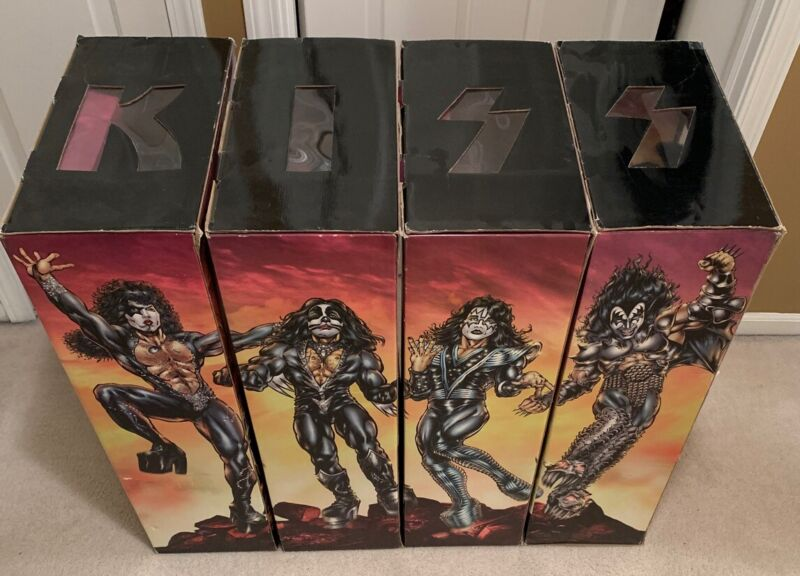 """Set of 4 KISS DESTROYER 24"""" Figures Gene Simmons/Peter/Paul/Ace MIB! Complete"""