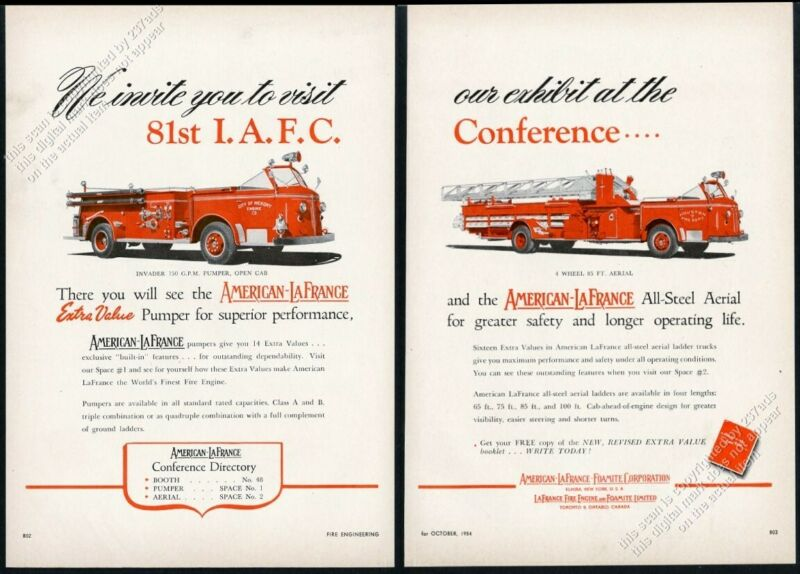 1954 American-LaFrance fire truck fire engine photo vintage trade print ad