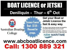 BOAT / JETSKI LICENCE - 6th Oct - Deniliquin Deniliquin Murray Area Preview
