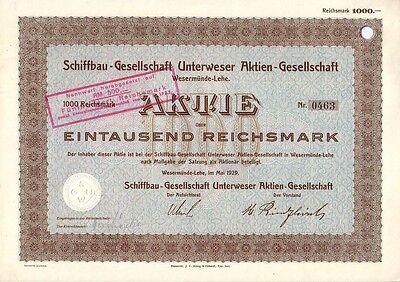 Schiffbau-Gesellschaft Unterweser AG, Wesermünde-Lehe  1929