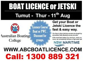 BOATING LICENCE - 11th August - TUMUT Tumut Tumut Area Preview