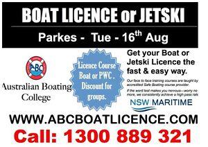 PARKES - Boating Licence Course & JetSki - Tuesday 5pm Parkes Parkes Area Preview