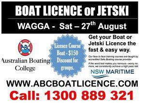 NSW Boating Licence Course. WAGGA WAGGA - Sat - 27th Aug 1:30pm Wagga Wagga Wagga Wagga City Preview