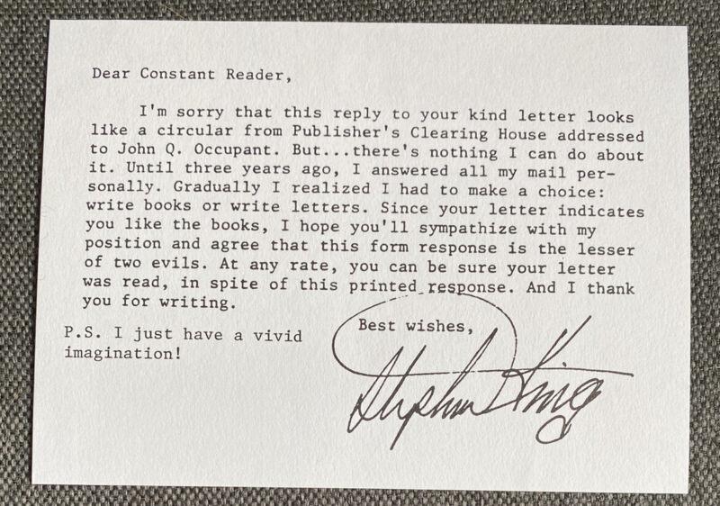 Stephen King Autograph On Card 3 7/8x5 1/2in Drucksigniert Print