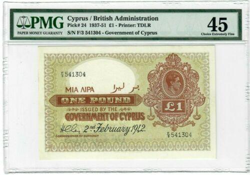 GOVERNMENT OF CYPRUS 1942 1 POUND P 24 PMG EXF 45  RARE DATE KGVI