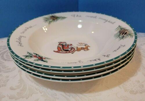 4 Mikasa Ultima Strong China HK713 Christmas Wish Rimmed Soup Bowls