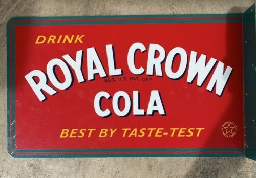 Royal Crown Cola FLANGED DOUBLE SIDED SODA SIGN 17.5x10.5 B