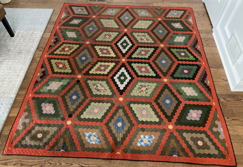 Antique C1870s Hexagon Star Quilt with Red Path Diamond Cube 75x87