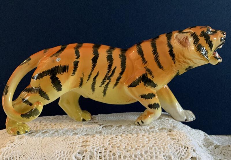 "Vintage Mid-Century Ceramic Roaring Tiger Figurine Gloss finish 14"" Japan"