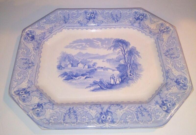 "Antique Lake Blue Transferware Ironstone Platter 15"" Tray Morley Ashworth Rare"