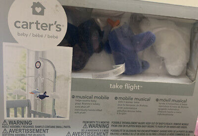 Carter's Take Flight Airplane Musical Mobile, Blue, Navy, Grey, Orange - Read