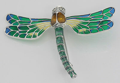 Dragonfly Pin - Sterling Silver - Plique a Jour Multi-Color Enamel