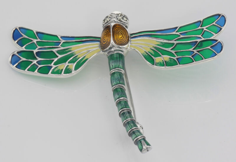 Dragonfly Pin - Sterling Silver - Plique a Jour Multi-Color Enamel