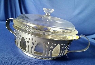 Vintage Stainless Pyrex Casserole Caddy Server Covered Dish Means Best