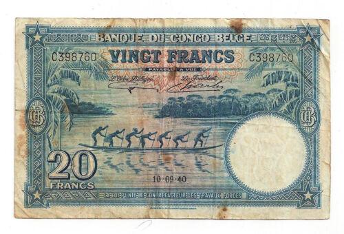 Belgian Congo 20 Frank Note, Pick 15, 10-9-40