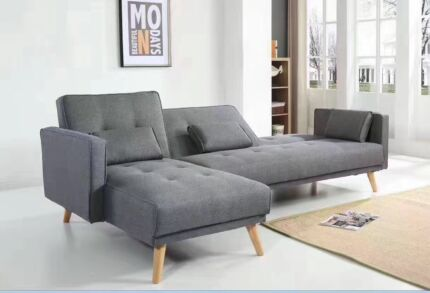 Brand New Sofa King Size Bed Couch with Flexible Chaise Grey