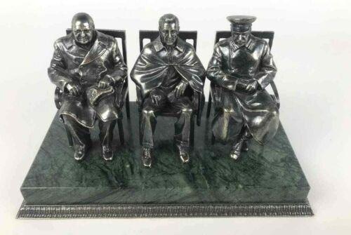 Yalta three Conference Churchill Roosevelt Stalin bust (statue) bronze stone