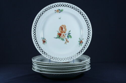 RARE ANTIQUE KPM BERLIN RETICULATED WHITE WITH ORANGE PLATE-SET OF 6-GERMANY