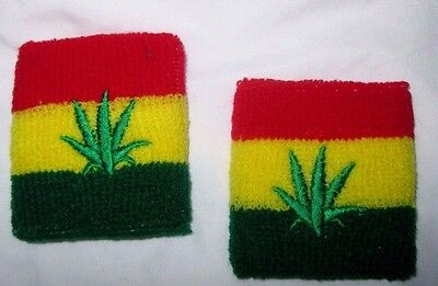 Rasta Stripes Red,Yellow, and Green with embriodered MJ Leaves Sweatbands-New!!