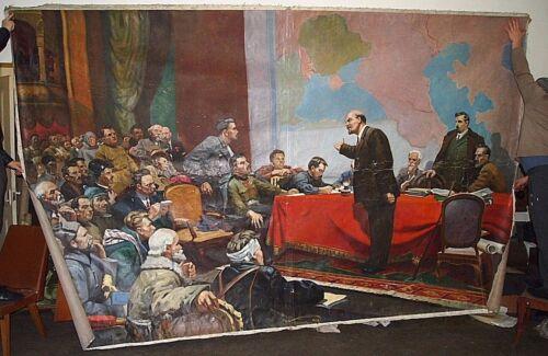 Soviet SUPER BIG Portrait, painting,oil on canvas - Vladimir Lenin.