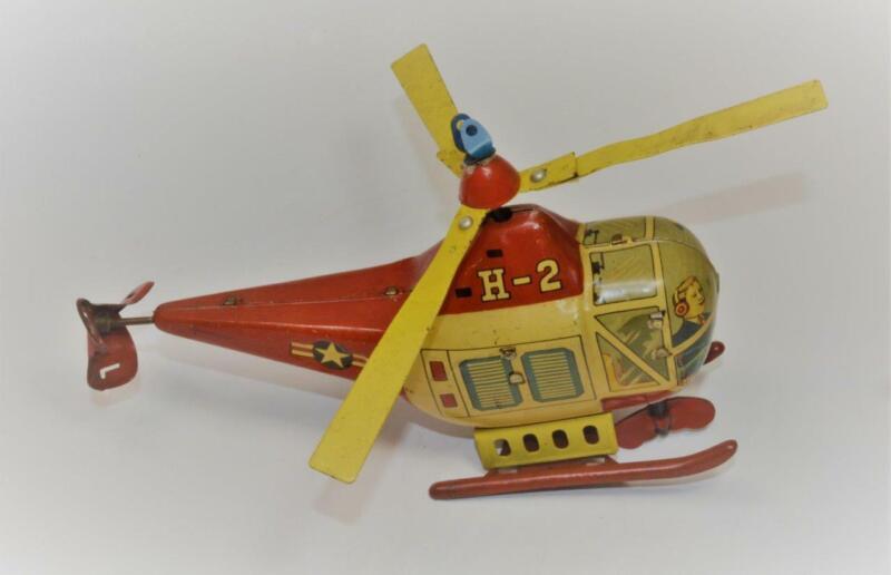 1960s MASUDAYA MODERN Toys Japan Tin Mechanial US NAVY HELICOPTER H-2