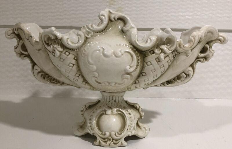 Vintage Porcelain Compote / Centerpiece Bowl Baroque Relief