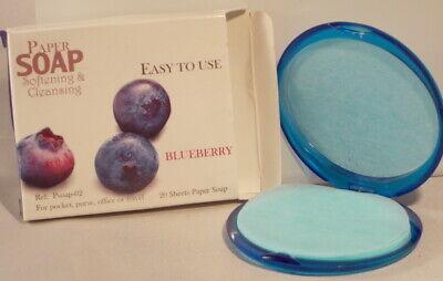 Blueberry Perfumado Papel Mano Jabones en Compacto Funda - 20 Hojas Viaje...