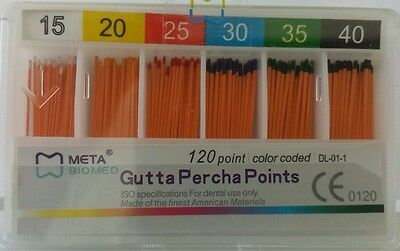 Gutta Percha Points 15-40 Assorted Color Coded Box Of 120 Meta Biomed Dental