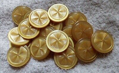 Yellow Vintage shank Buttons, embossed plastic/ acrylic 1960-1980s, 18 in total