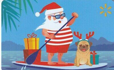 WalMart Tropical Santa Wakeboard Silly Pug Christmas 2019 Gift Card FD-65834 ()