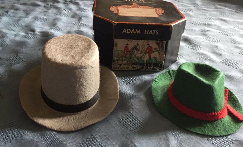 """Vintage Salesman Sample Hats With Original """"Adams Hats"""" Box"""